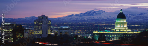 This is the State Capitol, Great Salt Lake and Snow Capped Wasatch Mountains at sunset Canvas Print