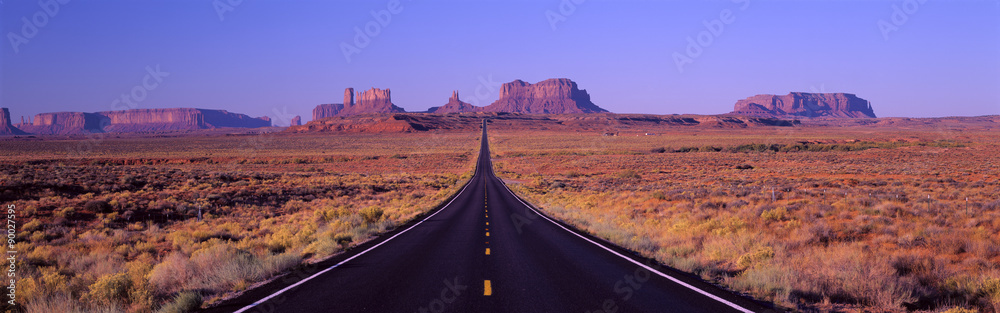 Fototapety, obrazy: This is Route 163 that runs through the Navajo Indian Reservation. The road runs up the middle and gets smaller into infinity. The red rocks of Monument Valley are in the background. The scrub plants of the desert are on either side of the road.