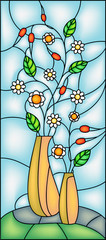 Naklejka Popularne Garden flowers in vase. Stained glass window, vector