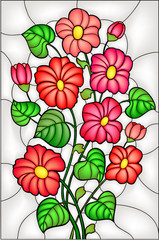 FototapetaGarden flowers / blossom. Stained glass window, vector