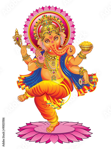 Photo  Vector Ganesha on a white background