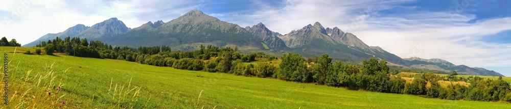 Fototapety, obrazy: Panorama. Summer mountain landscape. Beautiful view on High Tatra Mountains, Slovakia.