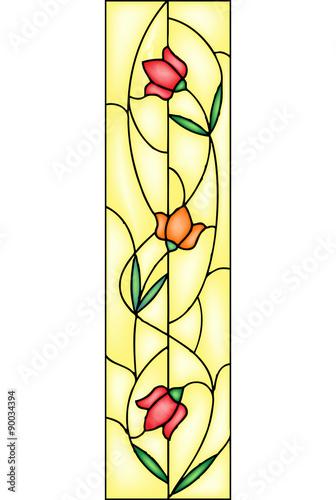 Naklejki na szyby  tulip-stained-glass-window-vector