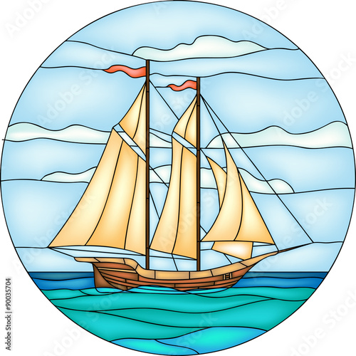 Vector Illustration Of Sailing Ship In Round Stained Glass Window