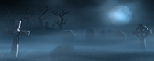 Tombstones On A Spooky Misty G...