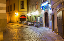 Old Street In Prague At Night....