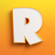 Cartoon 3d Font Letter R