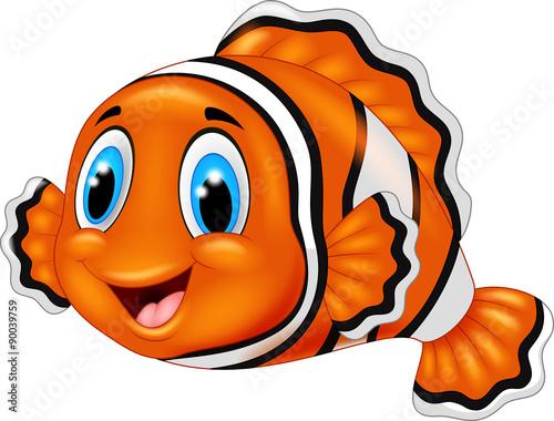 Canvas Cute clown fish cartoon
