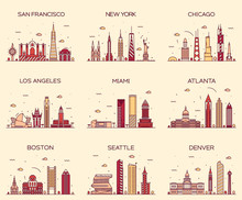American Cities Skyline Trendy...