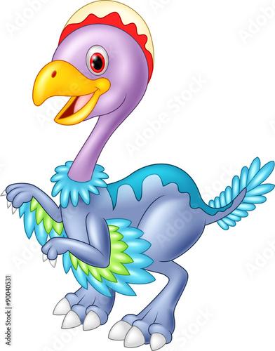 Aluminium Prints Pirates Cartoon baby dinosaur archaeopteryx