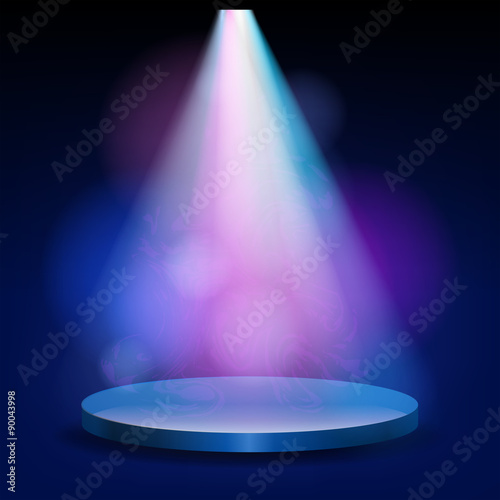 Empty stage lit with lights on blue background - Buy this