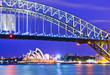 canvas print picture - View of Sydney Harbor at night
