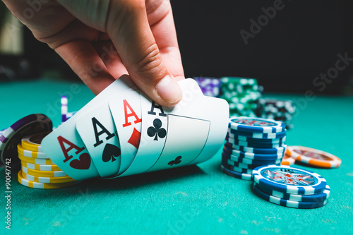 Poker chips and cards плакат