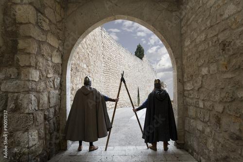 Fotografie, Obraz  Medieval warriors guarding door