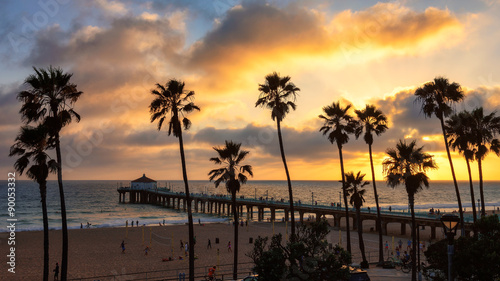 Palm trees over the Manhattan Beach and Pier on sunset in Los Angeles.