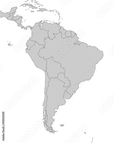Fotografía  Südamerika - Karte in Grau