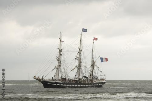 Fotografie, Obraz  Zeilschip Belem vaart op de Noordzee richting IJmuiden