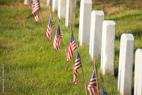 Poster Begraafplaats American flags near gravestones at Arlington National Cemetery i