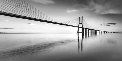 FototapetaAn black and white vision of the bridge Vasco da Gama
