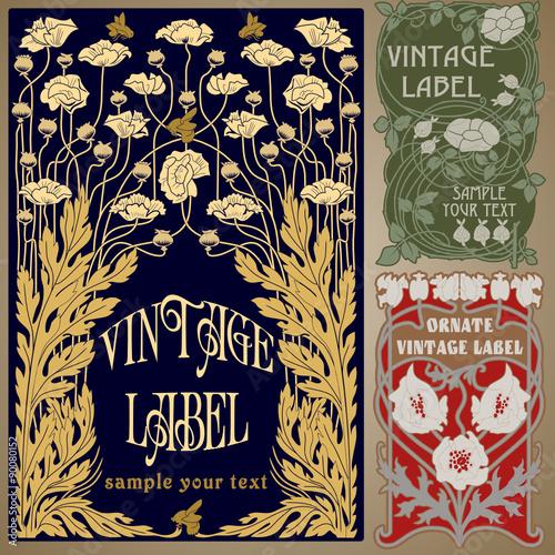 vector vintage items: label art nouveau Wall mural