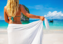 Woman With Sarong On Caribbean Beach