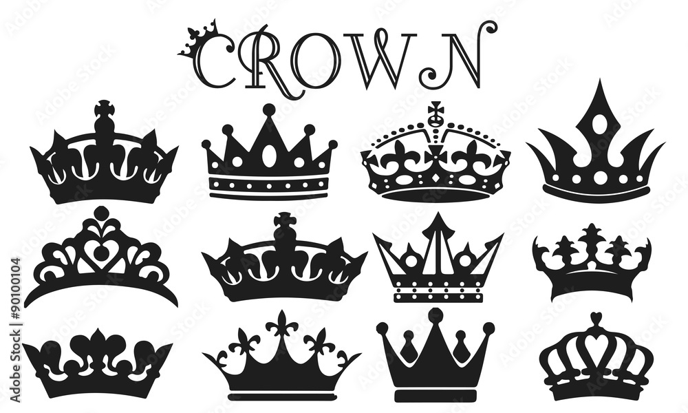 Fototapeta Crown Silhouette Set Vector