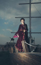 Girl On Boat In Vintage Clothes Image In Retro Style