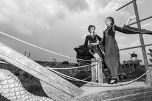 Two Woman On Boat In Retro Vintage Style