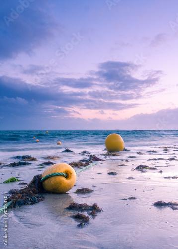 Printed kitchen splashbacks Purple Yellow buoys at dusk