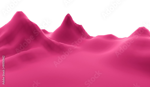 Staande foto Roze Mountain abstract rendered on white background