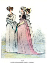 Vintage Illustration, Women Fashion From Journal Of Fashion And Elegance, Hamburg, 1801