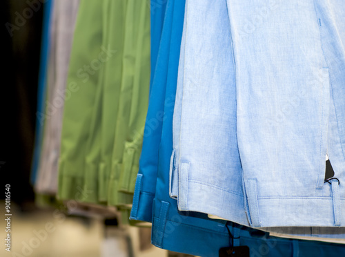 Fotografie, Obraz  Set of colored pants in the store.