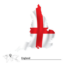 Map Of England With Flag