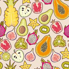 Tapeta Seamless exotic fruit
