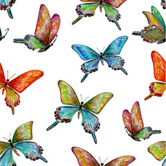 Naklejka seamless texture with of cute butterflies. watercolor painting.