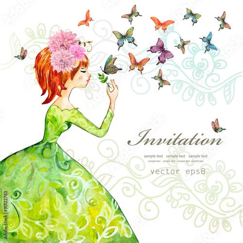 Foto op Canvas Bloemen vrouw fashion girl with butterflies. watercolor painting. vector illus