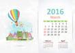 Cute sweet town. calendar for 2016, March