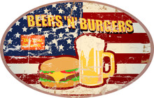 Retro American Diner Sign, Beer And Hamburgers, Vector, Grungy Style