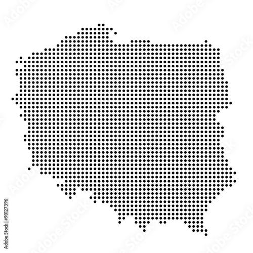 Fotografie, Obraz  Polen - Karte als Punkte