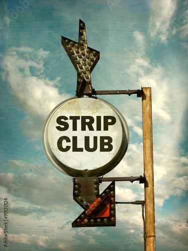 Fotografie, Obraz  aged and worn vintage photo of strip club sign