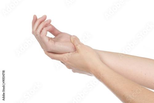 femme ayant mal au poignet Canvas Print