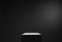 White Cube Box In Dark Space And Background, Light From Top