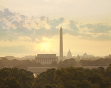 Washington DC Skyline With Sun And Clouds In The Morning
