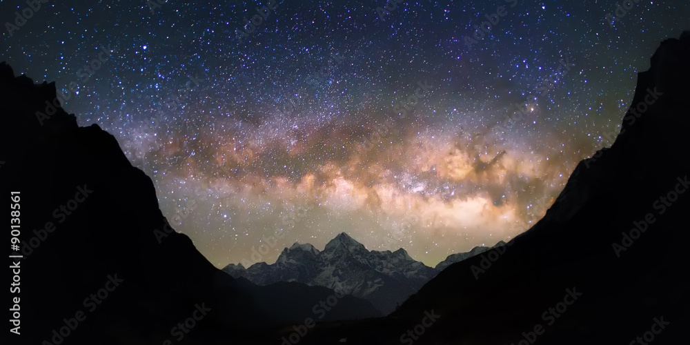 Fototapety, obrazy: Bowl of Heavens. Bright and vivid Milky Way galaxy over the snowy mountains. Beautiful starry night sky seems to be in a