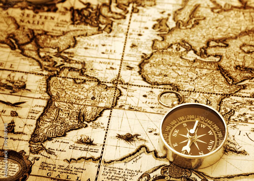 Fototapety, obrazy: Compass on vintage map