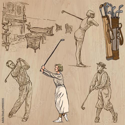 Foto op Plexiglas Art Studio Vintage Golf and Golfers - Hand drawn vectors, freehands