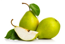 Ripe Green Pears Isolated With...