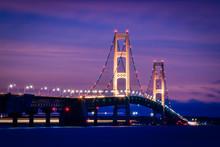 Glowing Mackinac Bridge At Twilight