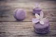 French macaroons with purple flowers