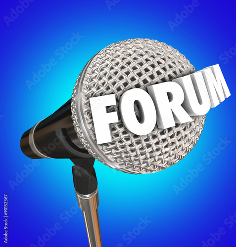Fotografie, Obraz  Forum Microphone Word Discussion Open Meeting Share Opinion Feed